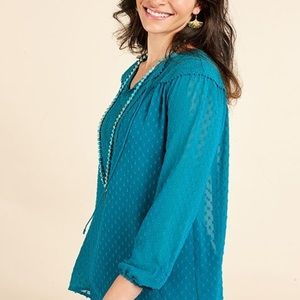 Matilda Jane Teal Lace Charisma Top, size small